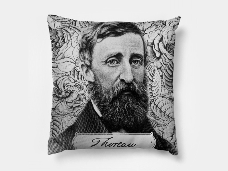 Thoreau Pillow david henry home americana nature literature decor pun pillow throw thoreau