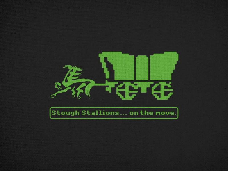 Stough on the Move vintage retro 1980s 80s game computer trail oregon horse green design shirt school chinese education carolina nc raleigh stallions stough