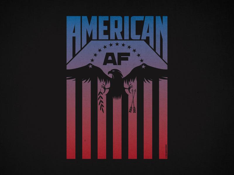 American AF design t-shirt clothing patriotic eagle af american america red blue gradient