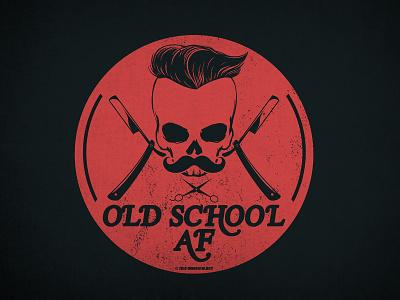 OldSchoolAF school old circle apparel design shirt razor skull type navy blue orange