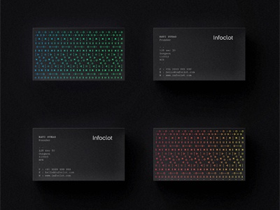 Infoclot Business Card data visualisation analytics information black technology graphic print minimal neon pattern