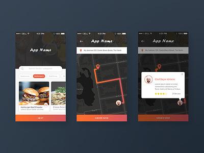App Order Food Exploration ios clean flat dark dashboard track map web order chef food app