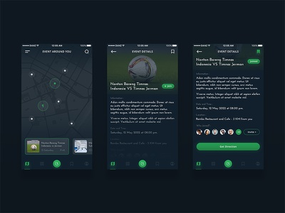 Event App Concept #1 card location slide details dark ios mobile map events app