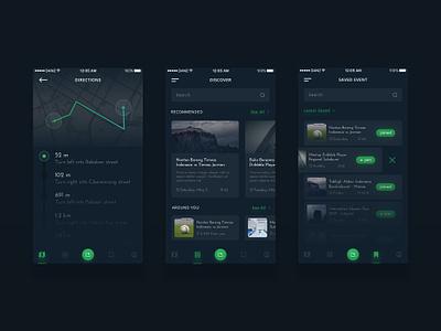 Event App Concept #2 list location dashboard details dark ios mobile map events app