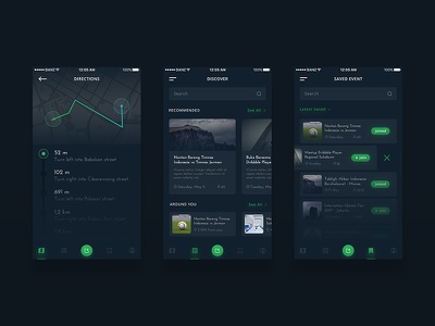 Event App Concept #2 list location dashboard details dark ios mobile map events app