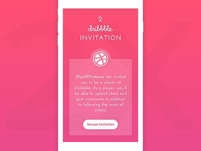 2 Dribbble Invitation draft dribbble iphone mockup pink gradient app invitation player invite