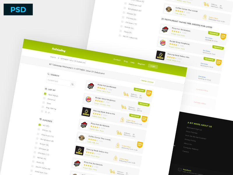 Freebie: Foodading Website Design crm cuisines restaurant food psd kit ui free website dashboard