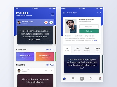 Quote App Design ui ux mobile ios android clean modern iphone card slide hover color button profile quote motivation daily home category shadow light photo user interface experience blue gradient