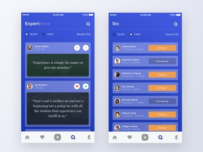 Quote App Design search find screen iphone ios kit mobile results user bottom icon form radio gradient blue button follow card people ui ux