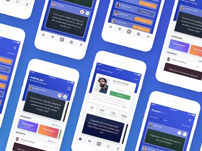 Quote App Design mockup concept ui ux mobile app gradient blue slide button card modern clean ios