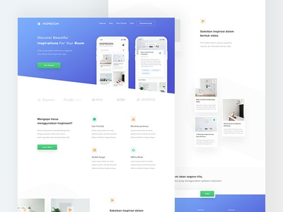 Inspiration Room App - Landing Page features card 2018 concept gradient blue download iphone x mockup mobile homepage web website