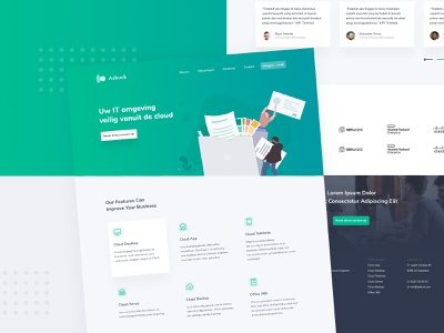 Asbuck Website Design modern cool personalize it exploration visual brand green color gradient cloud app undraw illustration minimal logo ui  ux company web landing page concept
