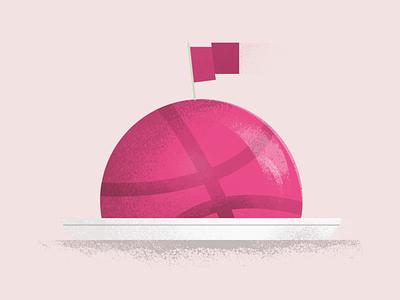 Hello Dribbble graphic illustration cake textured