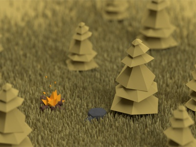 A Future Project render model miniature world trees low poly 3d blender