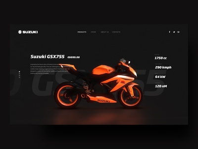 Suzuki Motorbike Landing Page product detail suzuki motorsport motorcycle motorbike landing page 3d dark design motion interaction vietnam ux ui animation
