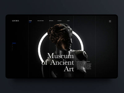 Ancient Art Museum Landing Page venus backlight black statue sculpture ancient museum of art museum landing page 3d dark motion design interaction vietnam ux ui animation