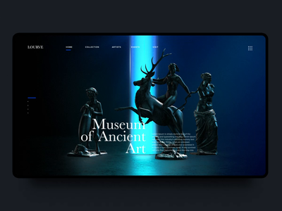 Ancient Art Museum 2 sculpture statue museum ui ux interaction design dark 3d landing page motion vietnam animation