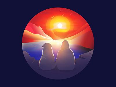 SUNSET illustration illustration art vector sunset illustration dog lover sunset sunset time