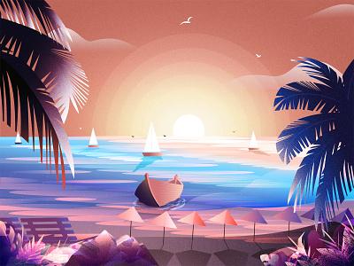 Sunset (St. Martin Island) bangladesh saint martin st. martin st. martin adventure ui ux design degital art art vector degital drawing illustration art illustration