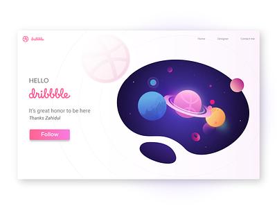 Hello Dribbble app website design web ux ui illustration vector