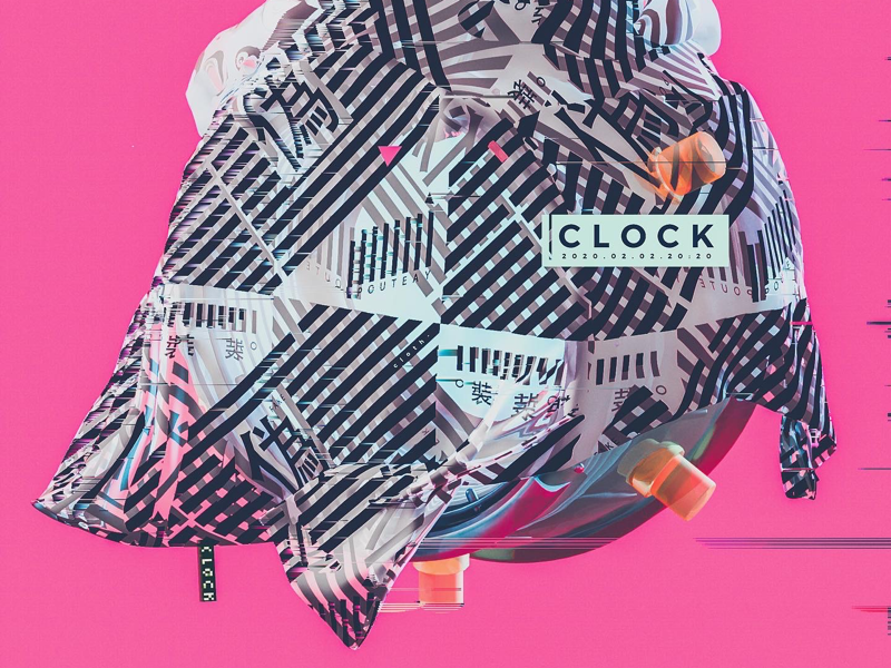 ckock pink color poster xparticles cloth shapes visual illustration render design graphics c4d