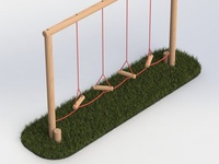 Playground Equipment Render - Swinging Steps