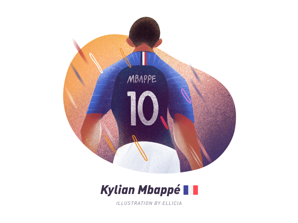 Illustration/Football players/Mbappe soccer mbappe suningsports painting character color design illustration