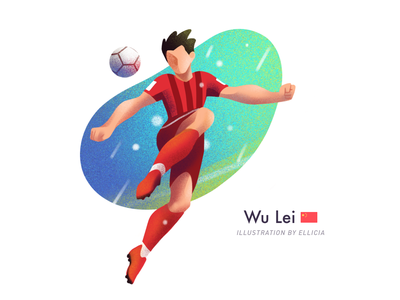 Illustration/Football players/Wulei soccer wulei suningsports painting character color design illustration