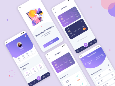 Wallet App app design finance bank money wallet mobile app figma simple illustration webdesign design ux ui