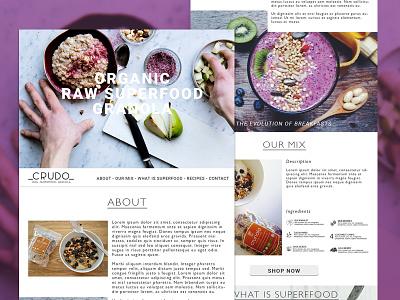 CRUDO - Raw Granola e-shop wordpress ux design landing page website ui