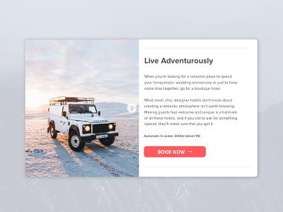 Adventurer ecommerce minimal ui web design defender book now product page landing page adventure