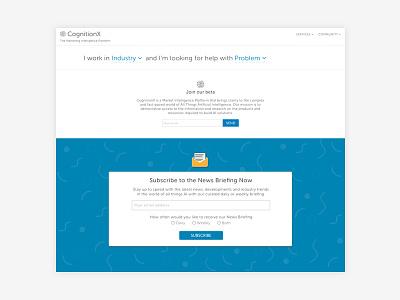 Cognitionx.io ai user-friendly dropdown newsletter pattern blue web design landing page ui