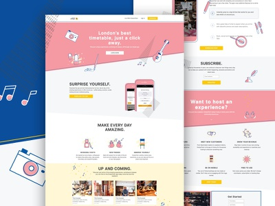 EmptyChair - London's best timetable! animals music responsive playful funny colour yellow pink bespoke design icons landing page illustration