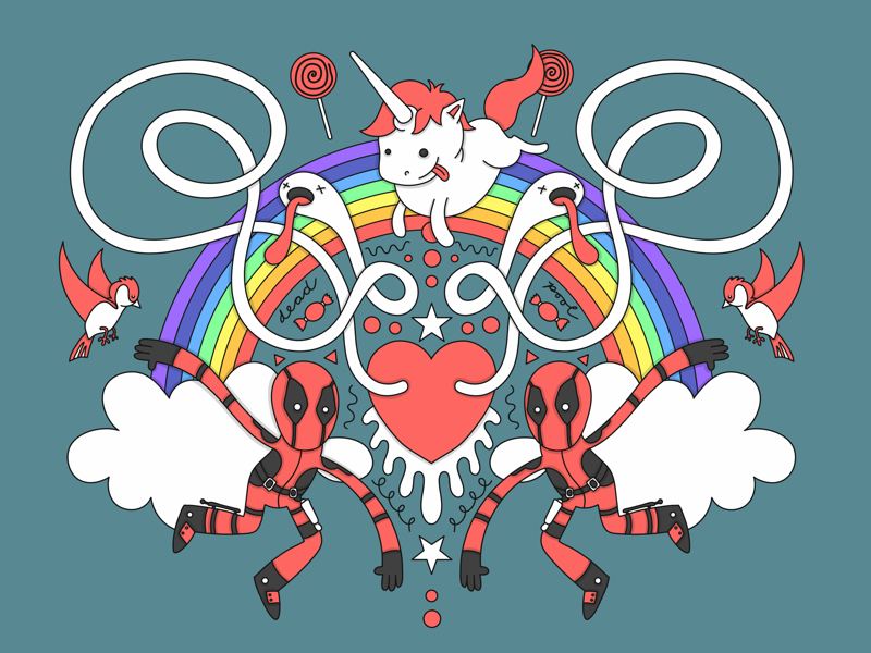 Deadpool loves you rainbow bird unicorn deadpool vector illustration character character design