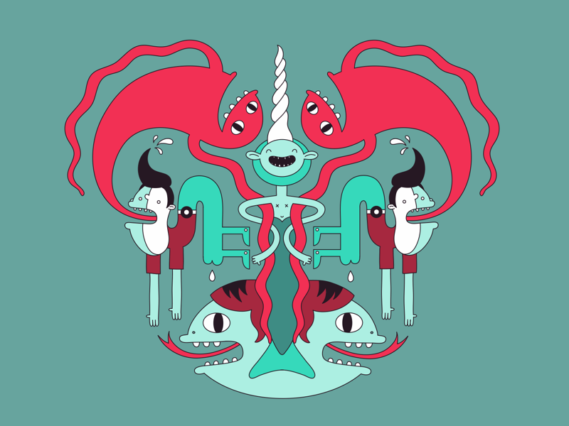 Aquatic mermaid vector illustration character character design