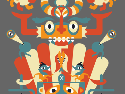 Feast of the Gods (Grey Background) vector character design illustration character