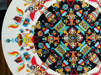 The Eyes of the Gods pictoplasma illustration mandala cut paper character character design