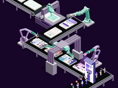 The Landing Factory vector isometric art color illustrator design isometry isometric design landing illustration isometric