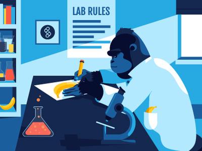 Guerrilla Testing Illustration design banana testing science lab gorilla vector flat illustration
