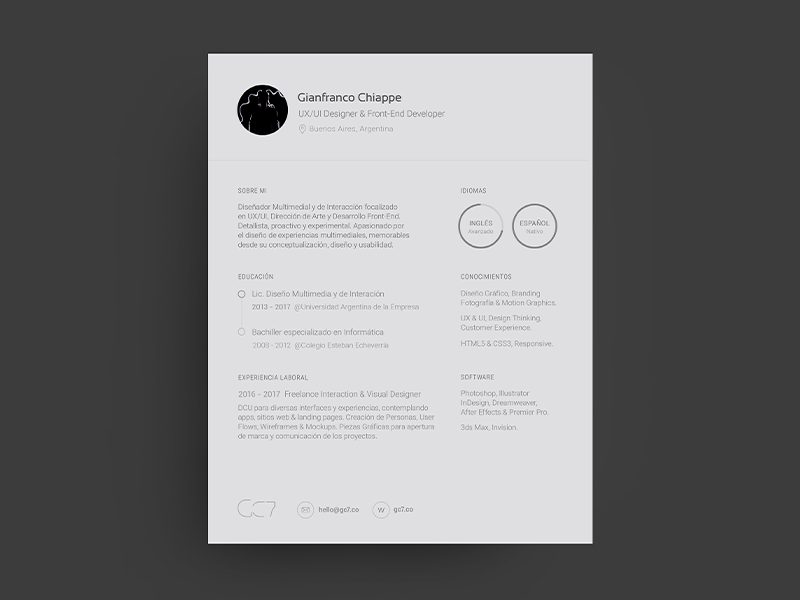 Resume by Gianfranco Chiappe - Dribbble