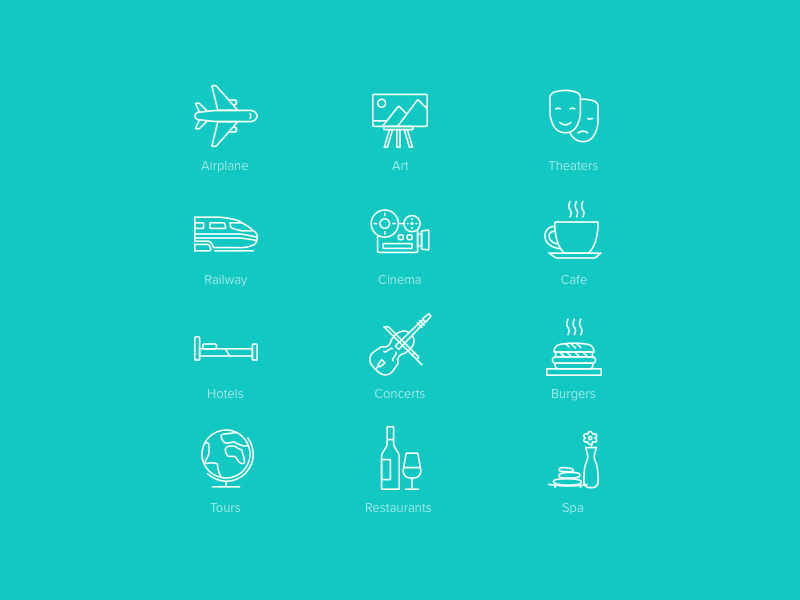 Active Age Icons Pack 1 restaurant airplane cafe burger set pack ios icons icon glyphs glyph