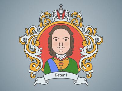 Peter The Great sketch russia peter emperor heraldry history flat vector illustration