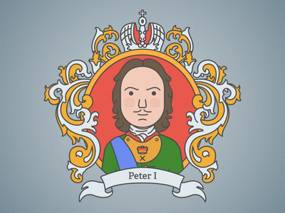 Peter The Great sketch russia peter emperor heraldry history flat vector illustration