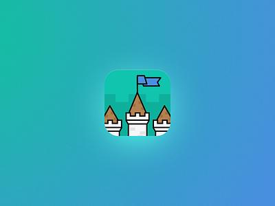 Castle Quiz App Icon icon quiz iphone ios10 illustration game education castle