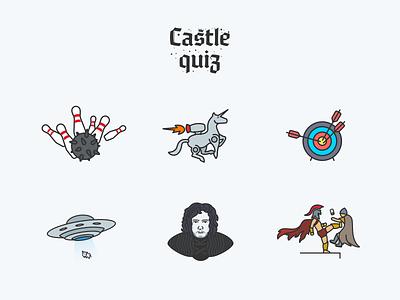 Castle Quiz — Achievements unicorn jon snow ufo game illustration quiz achievements