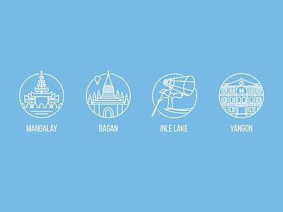 Myanmar Icons icon set travel linear city burma myanmar icons