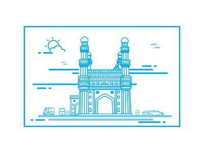 Charminar vector strokes naveenui india illustration hyderabad design city charminar cars building autos
