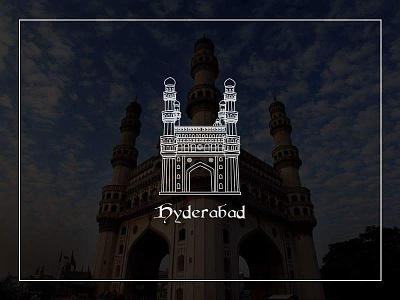 Hyderabad Logo!! ux strokes ui design logo vector charminar hyderabad india