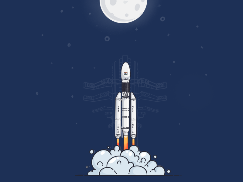 Chandrayaan-2...!! creative icon design space poster india spaceship illustration satellite rockets moon isro chandrayaan 2 chandrayaan