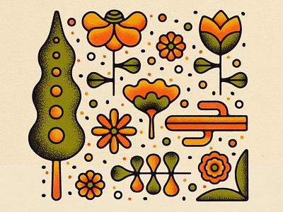 April Showers Bring... print branding illustration texture nature stipple leaf cactus sunflower daisy tulip may flower